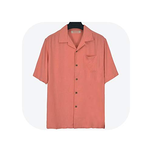 Five Color Silk Casual Short Sleeve Fit 80-130kg Big Collar Red Brown Green Blue,Coral Red,XL