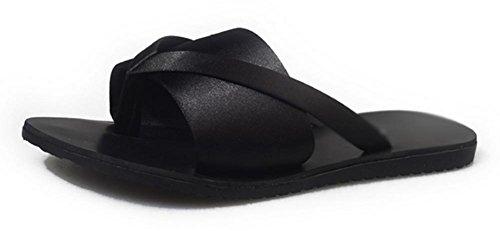 las mujeres PU zapatillas sandalias planas de palabras zapatos antideslizantes interiores y exteriores Black