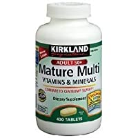 Kirkland Signature Mature Multi Vitamins & Minerals with Lycopene and Lutein 400 Tablets - Compare to Centrum Silver