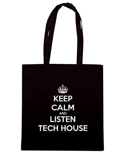 Speed Shirt Borsa Shopper Nera TKC1113 KEEP CALM AND LISTEN TECH HOUSE