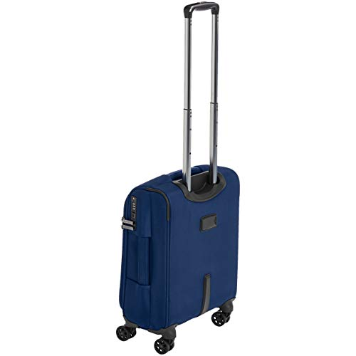AmazonBasics Premium Expandable Softside Spinner Luggage With TSA Lock - 18-Inch International Carry-On, Blue