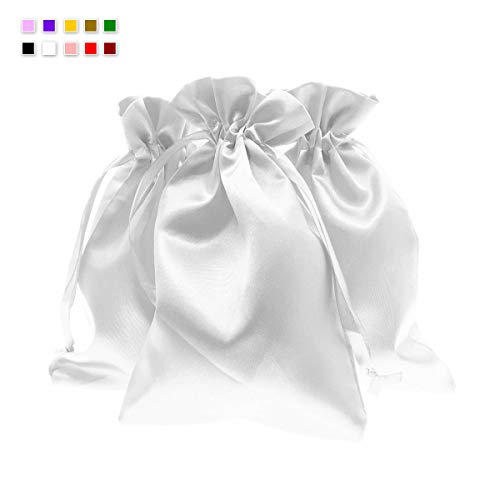 """Knitial 6"""" x 9"""" White Satin Gift Bags, Jewelry Bags, Wedding Favor Drawstring Bags Baby Shower Christmas Gift Bags 50 per Pack"""