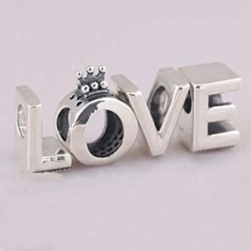 Calvas Authentic 925 Sterling Silver Bead Sparkling Love Heart Charm with Crown Fit Original Women DKG Bracelet Bangle DIY Jewelry Color: O