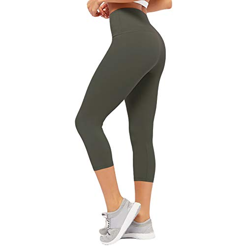 CAMPSNAIL Plus Size High Waisted Leggings for Women Yoga Pants Capri Leggings Compression Cropped Leggings Athletic Workout Leggings Olive Green