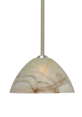 Besa Lighting 1TT-420183-LED-SN 1X6W GU24 Tessa LED Pendant with Mocha Glass, Satin Nickel Finish