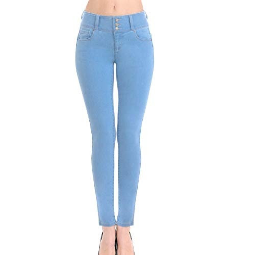 - Wax Women's Juniors Push-Up Super Comfy Stretchy Fit 3 Button Skinny Jean (1, Light Blue)