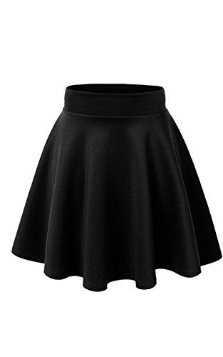 ACEVOG® Women's Stretch Waist Flared Skater Skirt Dress Mini Skirt 15 Colors (One Size, Black 1)