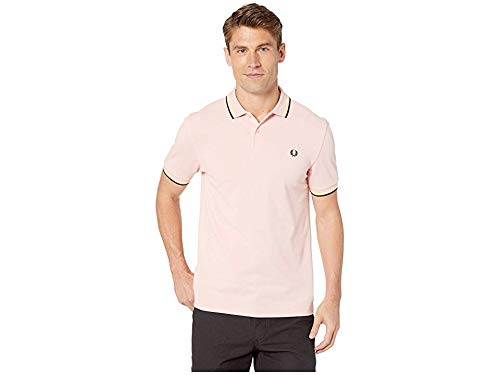 Fred Perry Men's Twin Tipped Shirt, Silver Pink/Soft Yellow/Black, - Black Fred Pique Perry