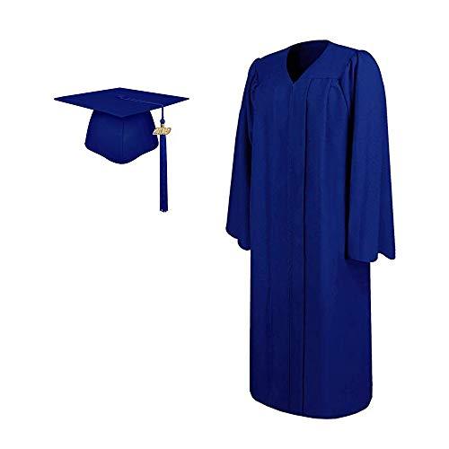 2019 Matte Adult Graduation Gown Cap Tassel Set (Royal Blue, 51''[5'6''-5'8''])