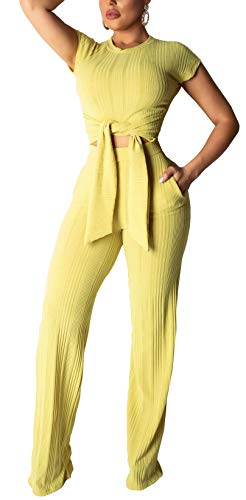 Womens Solid Wide Leg Pants Set Short Sleeve Crop Tops with Belt 2 Piece Outfits Jumpsuits ()
