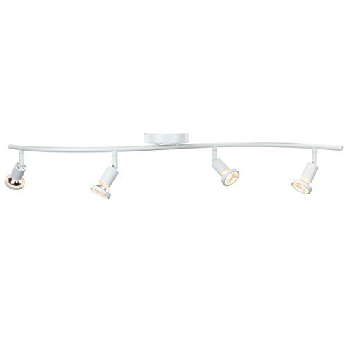 DnD 4-Light Adjustable Track Lighting Kit - GU10 Halogen Bulbs Included. CE2001-WS (White) - White Track Lighting