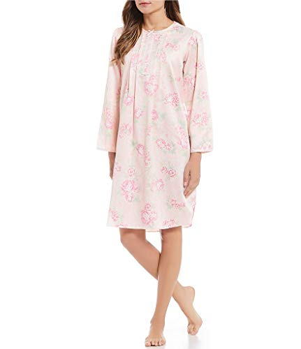 Miss Elaine Women's Brushed Back Satin Sht Gown (Medium, Pink PRT Floral) ()
