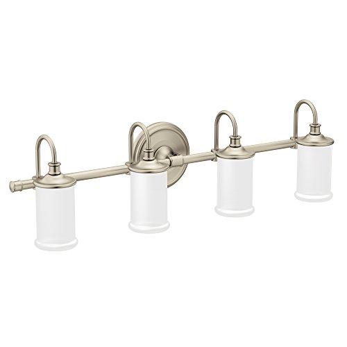 Moen YB6464BN Belfield 4-Light Dual-Mount Bath Bathroom Vanity Fixture with Frosted Glass, Brushed Nickel