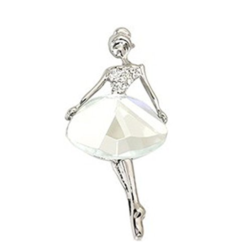 Gold Ribbon Brooch (Botrong Ballet Girl Fashion Style Brooch Crystal Brooch (White))