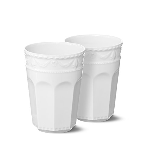 (KPM Berlin Treatment Land Latte Macchiato Cup Duo Set, Porcelain, White, 26.5x 26.5x 13cm,)