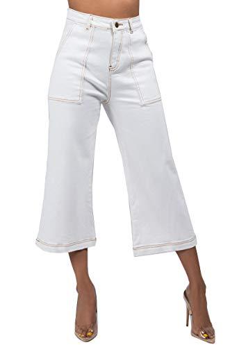 AKIRA Women's High Waist Patch Pocket Contrast Stitch Sandblast Wide Leg Crop Culotte Pants-White_S