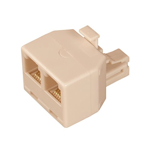 AmerTac - Zenith TS1001SPJ2A TS1001SPJ2A 6 Conductor Duplex Jack, Almond Landline Telephone (2 Way Duplex Jack)