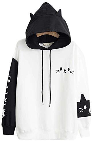 - Cosplay Anime Bunny Emo Girls Sweater Hoodie Ears Costume Panda Cat Emo Bear Jacket T Shirt Top Shirt (Black Bear)