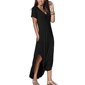 iGENJUN Women's Short Sleeve Split Tie Dye Casual Maxi Dress with