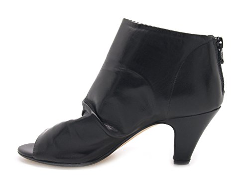 Padua Carmens tronchetti para mujer punta abierta perneras sfoderata piel, cierre de cremallera, suela de caucho negro