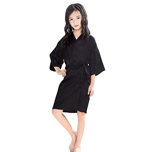 NUWFOR Toddler Baby Kids Girls Solid Silk Satin Kimono Robes Bathrobe Sleepwear Clothes(Black,4-5 -