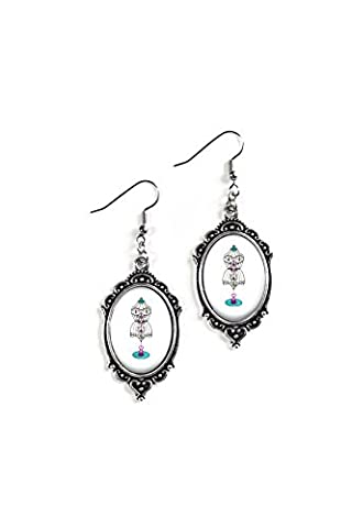 Mannequin Form 18x25mm Cameo Glass Silver Filigree Earrings (Frankenstein Cabochon)