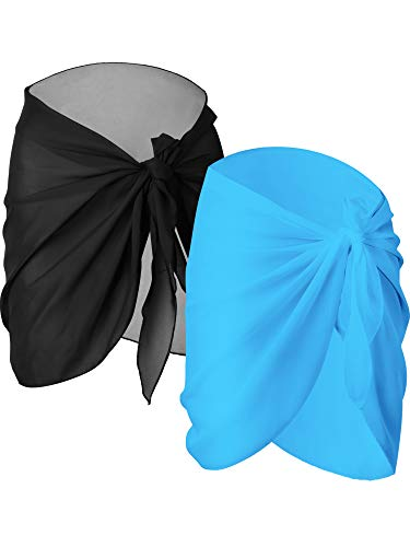 Chuangdi 2 Pieces Women Beach Wrap Sarong Cover Up Chiffon Swimsuit Wrap Skirts (Black and Light Blue, Short)