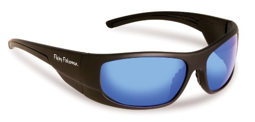 Flying Fisherman Cape Horn Polarized Sunglasses, Black Frame, Smoke-Blue Mirror - Fisherman Sunglasses