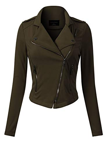 Design by Olivia Women's Slim Fit Long Sleeve Zip-up Moto Jacket Olive L