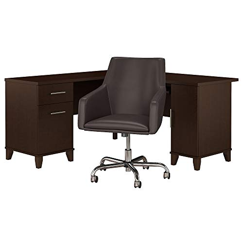 Bush Furniture Somerset 60W L Shaped Desk with Mid Back Leather Box Chair in Mocha Cherry ()