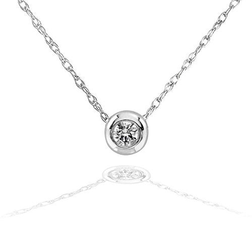(Tiny Diamond Solitaire Bezel Necklace in 14k Gold (18