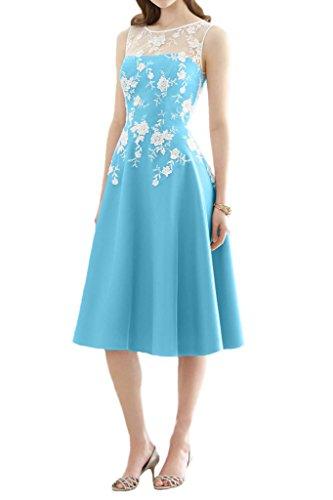 Avril Robe Robe De Bal De Demoiselle D'honneur En Mousseline De Soie Illusion De Thé Longueur Robe De Bal En Dentelle Bleu