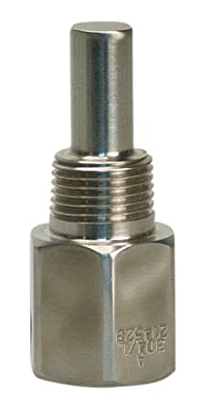 "WIKA TH2R010SS 316 Stainless Steel Threaded Thermowell Reduced Shank, 1"" ""U"" Dimension, 1/2"" NPT Process Connection for Bimetal and Gas Actuated Thermometers"