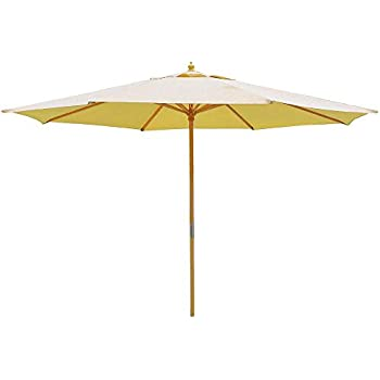 This Item 13 Foot Sycamore Wood Khaki Canopy Patio 13u0027 Umbrella Outdoor  Furniture Sycamore Wood Pole W/ Pulley For Outdoor Patio Furniture Overhead  Cover ...