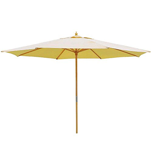 13 Foot Sycamore Wood Khaki Canopy Patio 13' Umbrella Outdoor Furniture Sycamore Wood Pole w/ Pulley for Outdoor Patio Furniture Overhead Cover Canopy UV Protection Sun Shade Café Shop