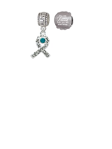 Scroll Ribbon with Teal Crystal Aunt Charm Bead with You Are More Loved Bead (Set of 2)