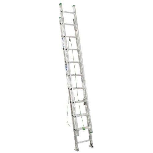 Werner D1220-2 225-Pound Duty Rating Aluminum Flat D-Rung Extension Ladder, 20-Foot