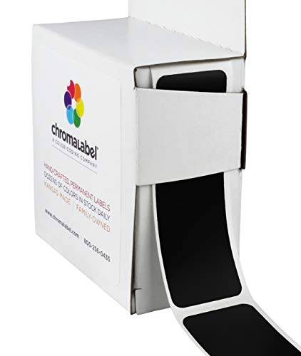 ChromaLabel 1 x 3 inch Color-Code Labels | 250/Dispenser Box - Black Stickers Chalkboard