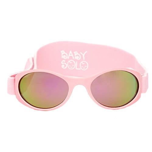 Protective Glass Frames Eye Protection - Baby Solo Babyfarer Baby Toddler Sunglasses/Infant Newborn Sunglasses (0-36 months, Matte Pink Frame Rose Gold Mirror Lens)