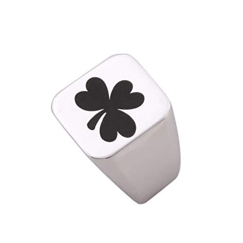 Mens Silver St. Patrick Shamrock Symbol Stainless Steel Engraved Symbol Ring (Stainless Steel Shamrock Ring)