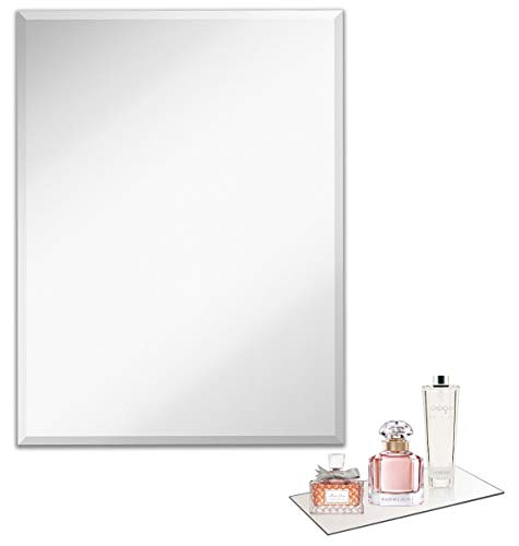 Light In The Dark Large Frameless Wall Mirror with Beveled Edge (30