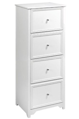 Oxford File Cabinet, 4 DRAWER, WHITE