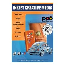"PPD LTR 8.5x11"" Inkjet Matt Vinyl Self Adhesive Sticker Paper X 40 Sheets"