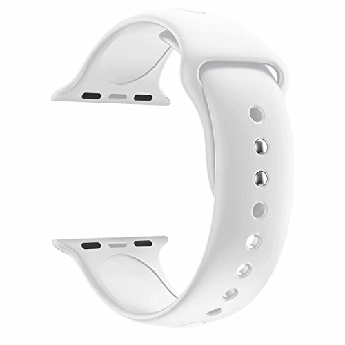 YANCH Compatible for Apple Watch Band 42mm 44mm,Soft Silicone Sport Strap Wristband Compatible for iWatch Apple Watch Series 4 Series 3, Series 2, Series 1,Nike+,Sport,Edition,M/L Size,White