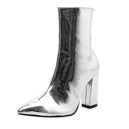 Creazrise Women's Galla Pointed Toe Bootie with Flared Heel Stretch Shaft Fashion Boot (Silver,5)