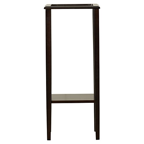 Indoor Plant Stand, Wood Pedestal Telephone Table, Square Contemporary End Table With Bottom Storage Shelf, Brown Finish by Simple Living Products (Image #2)'