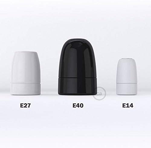 Noir creative cables Kit Douille E40 en Porcelaine