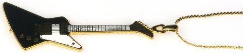 Harmony Jewelry Gibson Explorer Electric Guitar Necklace - Black (Guitar Style Electric Explorer)