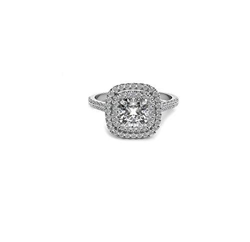 14k White Gold D/VVS Round Cut Hallo Engagement,Wedding,Love Ring