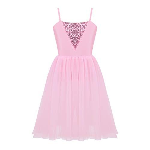 inhzoy Girls Ballerina Sequins Bodice Gymnastic Leotard Ballet Dance Tutu Dress Stage Performance Fairy Tale Costume Pink 12-14 ()